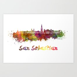 San Sebastian skyline in watercolor  Art Print