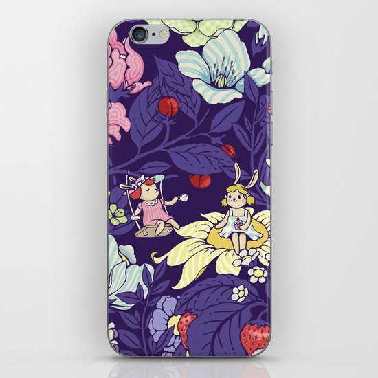 Garden party - blueberry tea version iPhone & iPod Skin