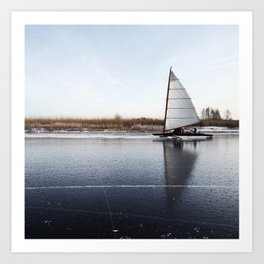 Sailboat on Ice Art Print