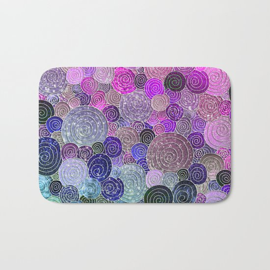 Abstract blue& purple glamour glitter circles and dots for Girls and ladies Bath Mat