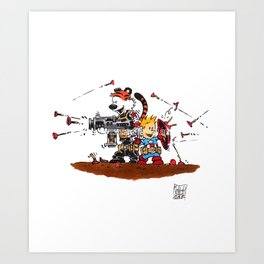 Calvin and Hobbes Inspired Hero Parody Art Print