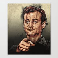 bill murray Canvas Prints featuring Bill Murray by Daniel Hatcher