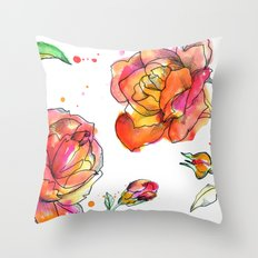 Inky Floral Throw Pillow