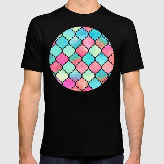 Watercolor Moroccan Patchwork in Magenta, Peach & Aqua T-shirt