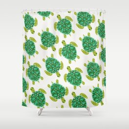 Sea Turtle – Green Palette Shower Curtain