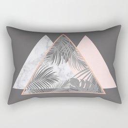 BLUSH GRAY COPPER MARBLE GEOMETRIC PATTERN Rectangular Pillow