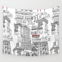 buildings Wall Tapestries featuring Ny buildings by dezignation