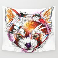 red panda Wall Tapestries featuring Red Panda  by Abby Diamond