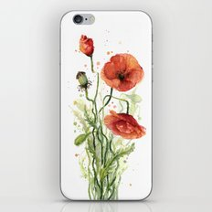 Red Poppies Watercolor Flower Floral Art iPhone & iPod Skin
