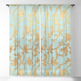 Golden Damask pattern Sheer Curtain