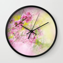 Flowers-pink, purple and yellow Wall Clock