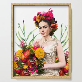 Frida Kahlo, Frida, Kahlo, flowers, bouquet, Marigolds, Mexican art Serving Tray