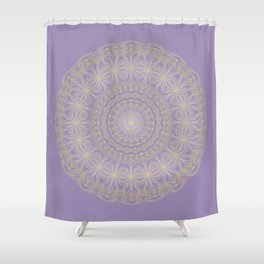 Lotus Mandala in Lavender and Gold Shower Curtain