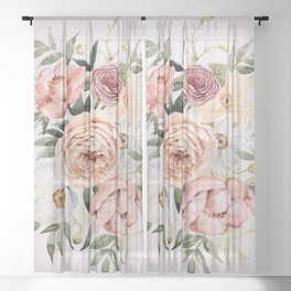 Muted Peonies and Poppies Sheer Curtain