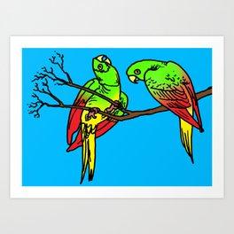 parrot art, bird art, bird artwork, bird art prints, Art Print