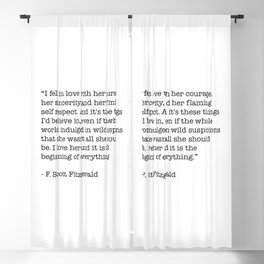 I fell in love with her courage, her sincerity... F. Scott Fitzgerald Quote Blackout Curtain