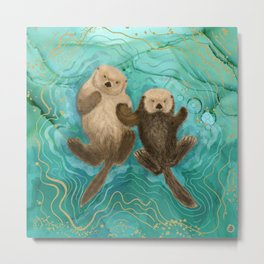 Otters Holding Paws, Floating in Emerald Waters Metal Print