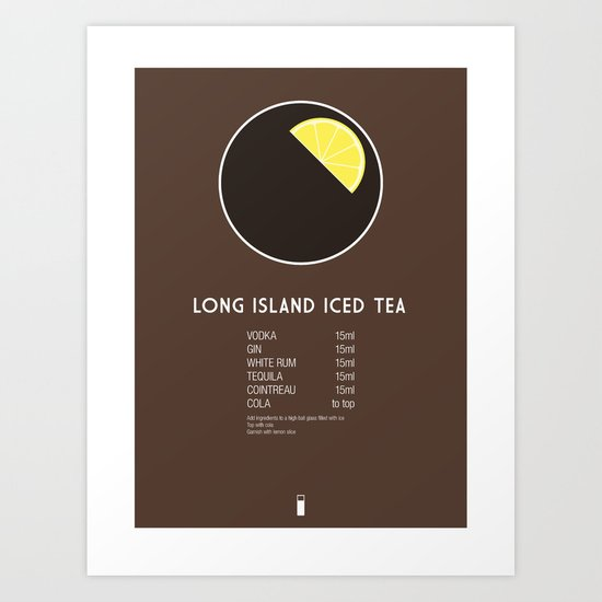 Long Island Iced Tea Cocktail Recipe Poster (Metric) Art Print