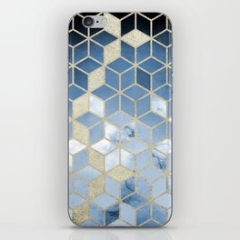 Shades Of Blue Cubes Pattern iPhone Skin