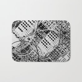 analog synthesizer  - diagonal black and white illustration Bath Mat