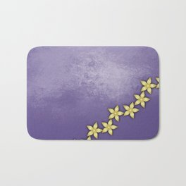 Gold flowers on ultraviolet texture Bath Mat
