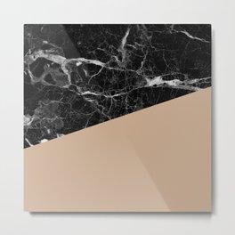 Black marble and hazelnut color Metal Print