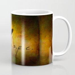 Hope Ebony Jewel Wing Damselfly on Golden Sunlight Dragonfly Coffee Mug