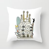 barcelona Throw Pillows featuring Barcelona by Jaume Tenes