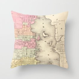 Vintage Map of New Bedford MA (1871) Throw Pillow