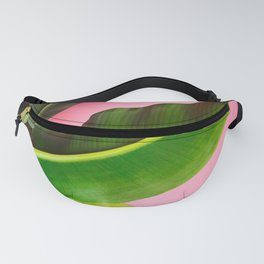 Banana Palm Leaves Pink Background Fanny Pack