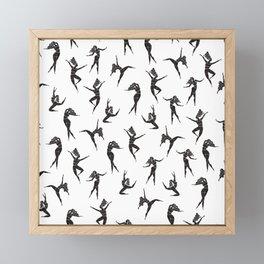 Dance Girl Pattern Black and White Framed Mini Art Print