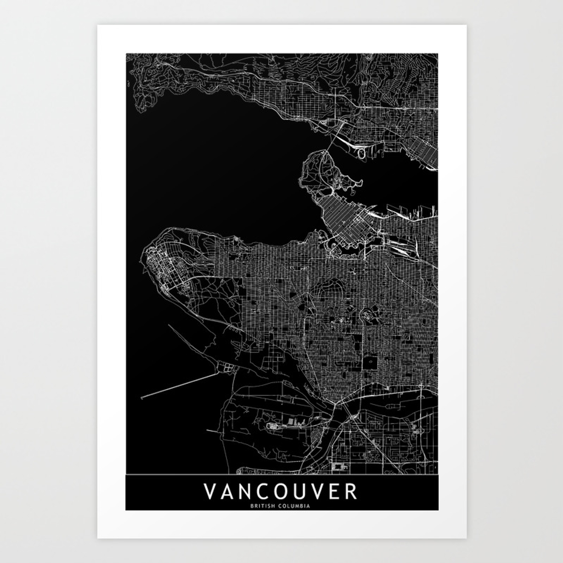 Vancouver black map art print