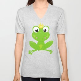 Green Frog, Frog Prince, Frog With A Crown Unisex V-Neck