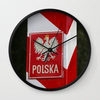 poland Wall Clocks featuring Frontier between Poland and Germany by Premium