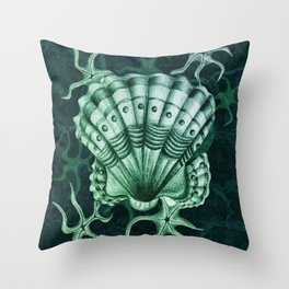 Dystopian Cockle - Lambent Green Throw Pillow