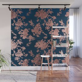 Navy blue faux rose gold watercolor floral Wall Mural