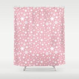 White & blush pink snowflake pattern Shower Curtain
