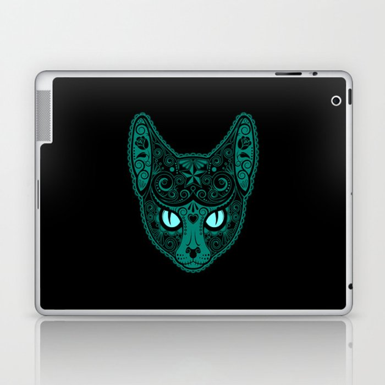 Blue Day of the Dead Sugar Skull Cat Laptop & iPad Skin