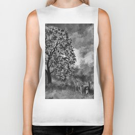 The Deer in the Forest (Black and White) Biker Tank