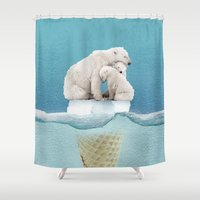 ice Shower Curtains featuring polar ice cream cap 02 by Vin Zzep