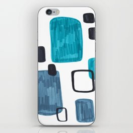 Mid Century Modern Abstract Minimalist Art Colorful Shapes Vintage Retro Style Turquoise Blue Grey iPhone Skin