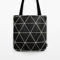 triangle Tote Bags featuring Geodesic by Terry Fan