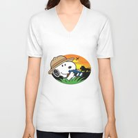 snoopy V-neck T-shirts featuring Safari Snoopy by Yildiray Atas
