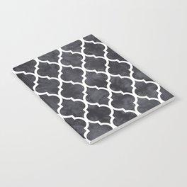 Classic Quatrefoil Lattice Pattern 421 Black and White Notebook