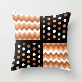 Black/Two-Tone Burnt Orange/White Chevron/Polkadot Throw Pillow