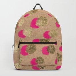 Modern Christmas watercolor neon pink gold foil polka dots on Kraft Backpack