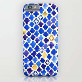 Rustic Watercolor Moroccan in Royal Blue & Gold iPhone Case