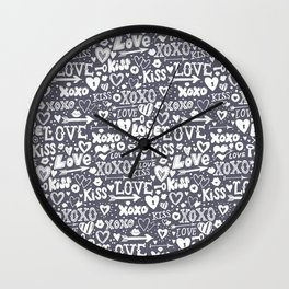 Love doodles in neutral grey and white Wall Clock