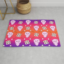 Cute funny Kawaii chibi little pink baby kittens, happy sweet cheerful sushi with shrimp on top, rice balls and chopsticks purple and bright orange pattern design. Rug