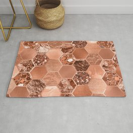 Rose gold hexaglam blonde Rug